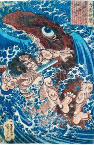 Utagawa Kuniyoshi, Held im Kampf mit dem Seemonster, 1827–1830 © Museum für Kunst und Gewerbe Hamburg