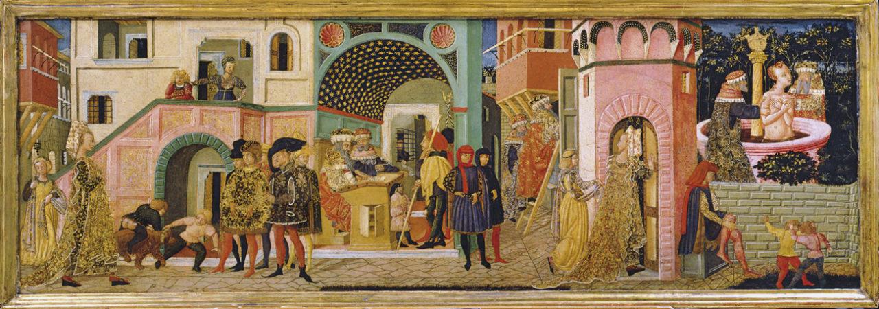 Giovanni di Ser Giovanni, genannt Lo Scheggia, Hochzeitstruhe mit Darstellungen aus der alttestamentarischen Geschichte der Susanna, um 1450