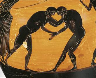 Zwei sich belauernde Ringer, Preisamphora für einen Sieger bei den Kampfspielen von Athen, um 510 v. Chr © Staatliche Antikensammlungen und Glyptothek München, Foto: Renate Kühling