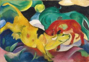 Franz Marc, Kühe, gelb-rot-grün, 1912 © Städtische Galerie im Lenbachhaus und Kunstbau, München