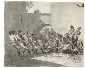 Johann Christian Reinhart, Ein Pferd wird von einem Rossarzt behandelt, um 1785/86