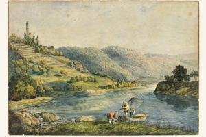 Carl Philipp Fohr, Burg Hornberg am Neckar mit dem Fischer im roten Kittel, 1813/14, Hessisches Landesmuseum Darmstadt © Hessisches Landesmuseum Darmstadt