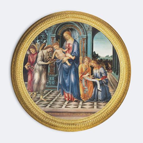 """Filippino Lippi, Madonna und Kind mit dem hl. Johannes dem Täufer und Engeln (""""Tondo Corsini"""") ca. 1481/82"""