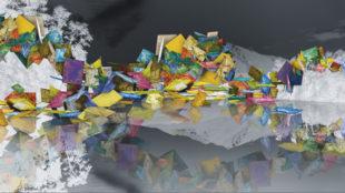 Clifford Ross, Harmonium Mountain I, 2008, Videostill einer Studioarbeit, zugleich Vorstudie zur Austin Wall © Clifford Ross Studio