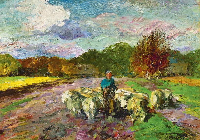 Herbst, Schäfer auf der Weide, um 1900, Öl auf Holz, 46,5x65cm