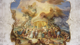 Johann Michael Franz, Opferung Iphigenies, 1764, Deckenfresko im Rittersaal des Schlosses Hirschberg in Beilngries, Altmühltal © Achim Bunz