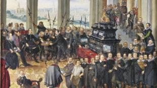 """Anton Mozart, """"Künstlerbild"""", Übergabe des Pommerschen Kunstschranks von Philipp Hainhofer an den Herzog von Pommern, um 1614/15"""