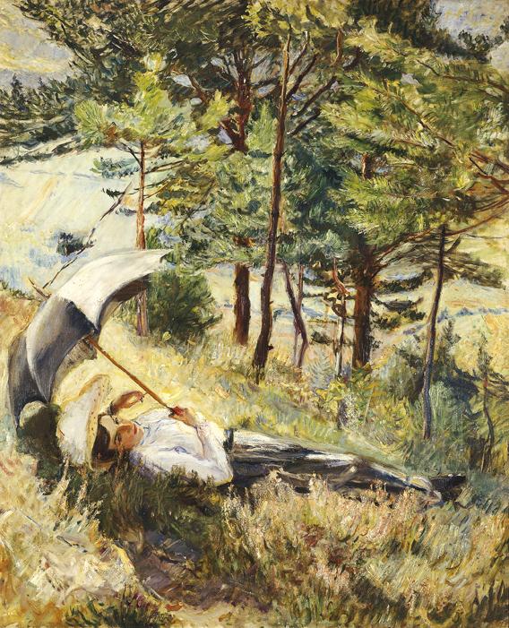Max Slevogt, Sommermorgen (Frau mit Sonnenschirm), 1901 Max Slevogt-Galerie, Schloss Villa Ludwigshöhe