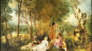 Antoine Watteau, Das Liebesfest (Detail), um 1718/19, Gemäldegalerie Alte Meister, Staatliche Kunstsammlungen Dresden Foto: Elke Estel/Hans-Peter Klut