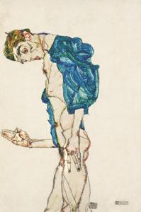 Egon Schiele, Prediger (Selbstakt mit blaugrünem Hemd), 1913 © Leopold Museum, Wien