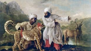 George Stubbs, Gepard und Hirsch mit zwei indischen Wärtern, 1765, Patshull Hall, Staffordshire © Manchester, Manchester Art Galleries