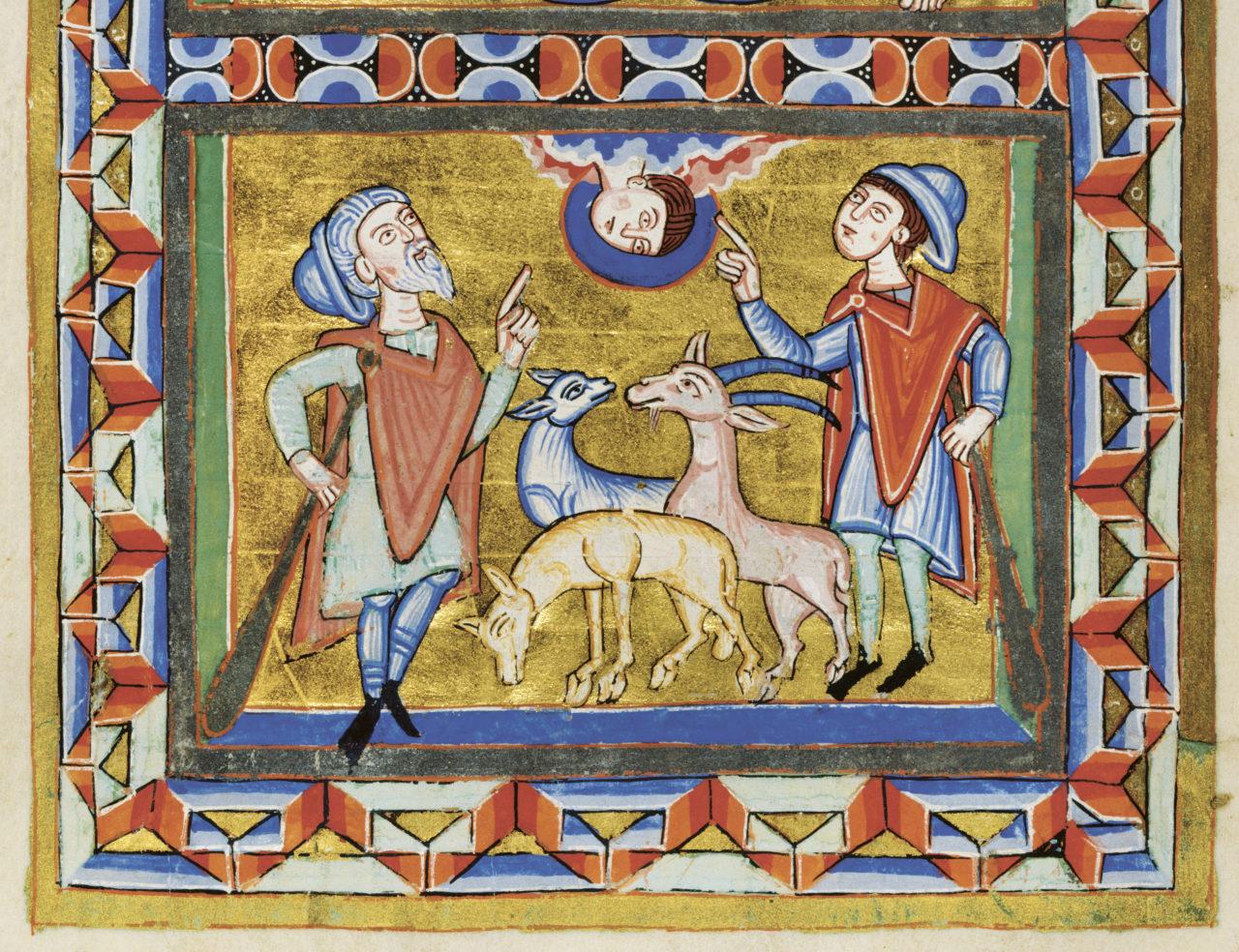 Evangelistar aus Altomünster, Verkündigung an die Hirten (Detail), Bayern (Tegernsee?), 1. Drittel 12. Jahrhundert