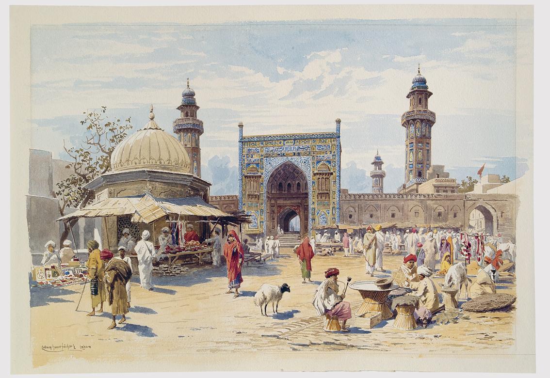 Ludwig Hans Fischer, Basar in Lahore, 1888/89, Graphische Sammlung am Kunsthistorischen Institut, Tübingen