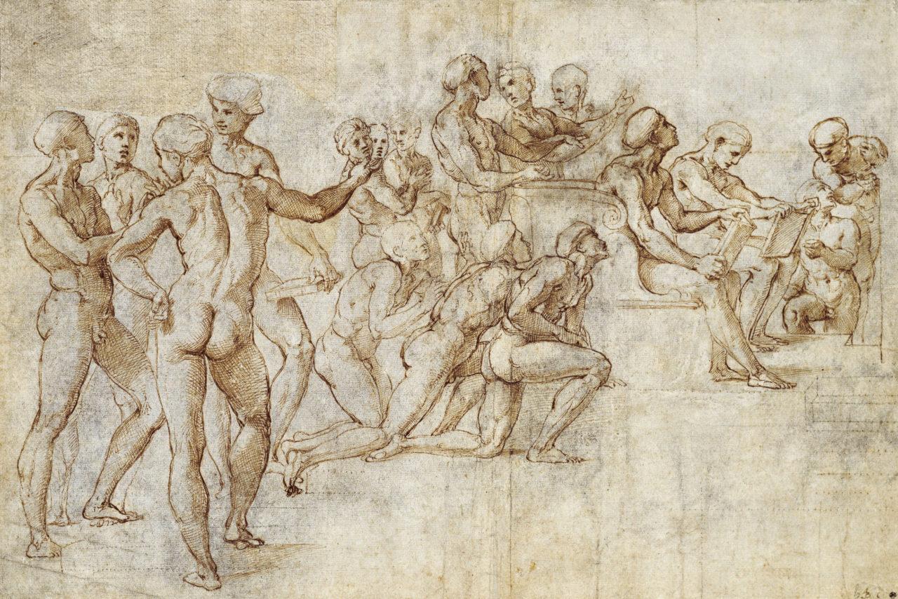 Raffael, Entwurf für die Disputa, um 1508/09, Städel Museum, Graphische Sammlung, Frankfurt am Main