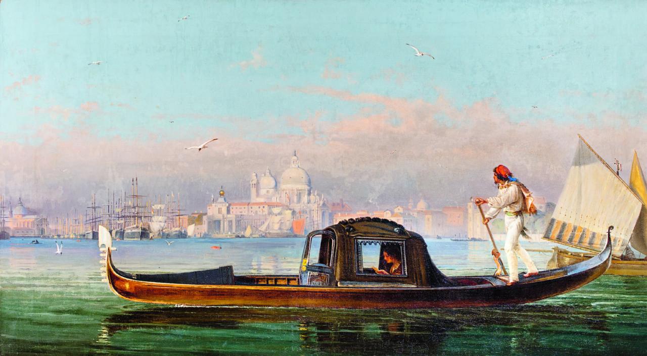 Friedrich Nerly, Venezianischer Gondoliere vor Stadtansicht, um 1860, Stiftung Schleswig-Holsteinische Landesmuseen Schloss Gottorf, Schleswig