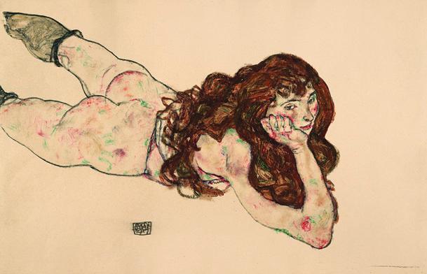 Egon Schiele, Auf dem Bauch liegender weiblicher Akt, 1917