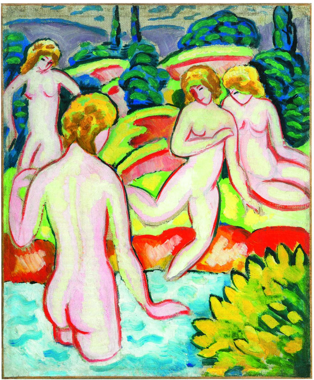 August Macke, Badende mit Lebensbäumen, 1910, Sammlung Braglia