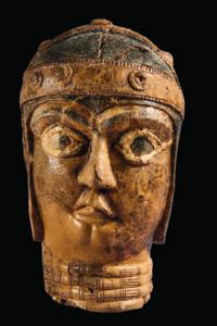 "Porträtkopf, 2. Jt. v. Chr.; ""Dschiroft""-Spielbrett in Form eines Adlers, 3. Jt. v. Chr."